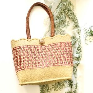 Vintage Straw Woven Shoulder Bag Leather Straps